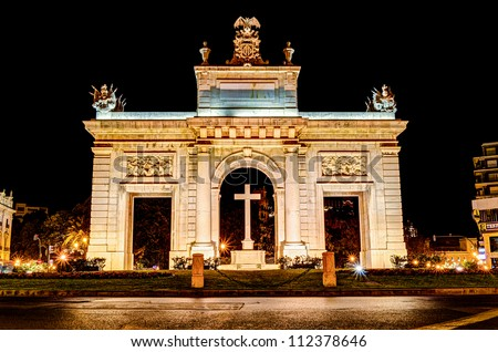 "town gate ""Porta de la Mar"", Valencia, Spain at night - stock photo"