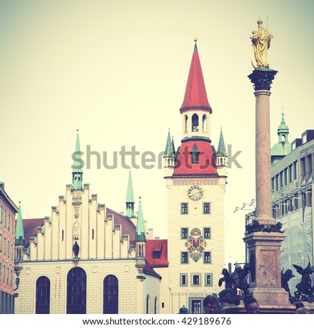 Town hall and Marian column on Marienplatz in Munich, Germany. Instagram style filtered image   on the Marienplatz in Munich, German - stock photo