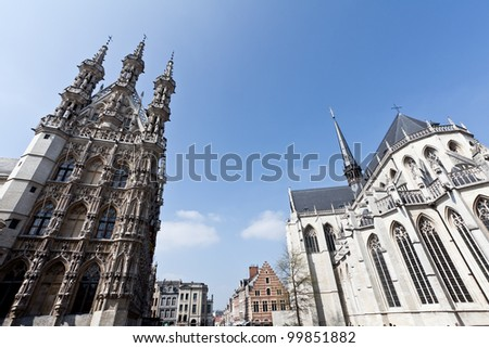 Town hall and Saint Peter's Church, Leuven, Belgium - stock photo