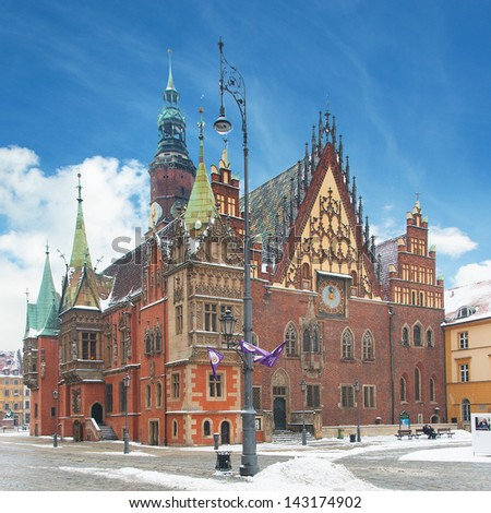 Town hall building in the Market Square (Rynek Glowny) in Wroclaw, Poland - stock photo