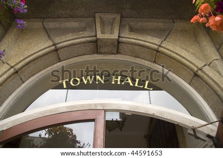 Town Hall entrance - stock photo
