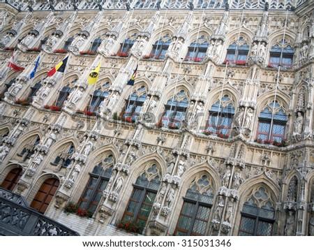Town hall in Leuven, facade, Belgium - stock photo