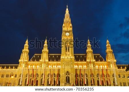 Town hall in Vienna at night, Austria - stock photo