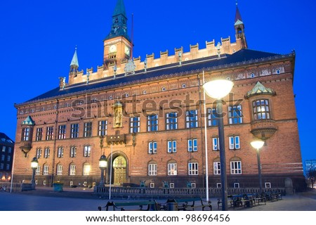 Town hall of Copenhagen at night - stock photo