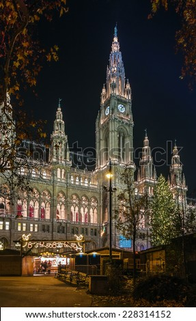 town hall of Vienna decorated by Christmas holiday, Austria - stock photo