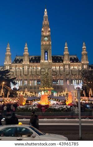 Town hall (Rathaus) in Vienna, Austria - stock photo