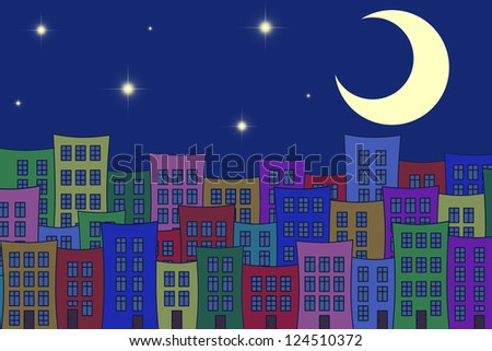 town houses in night - stock photo