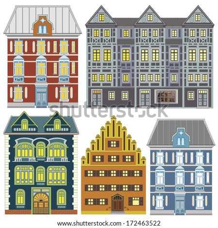 Town Houses in Old Europe. Set of illustrations, very sophisticated with many details, great for decoration and promotion for the tourist industry