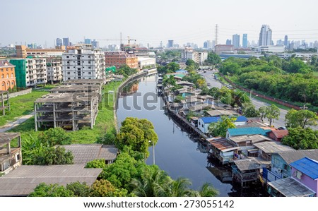 Town in Bangkok beside River in Thailand