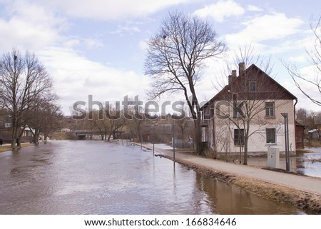 town in spring floods - stock photo