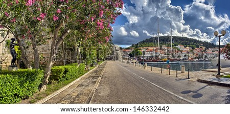 Town Korcula at Croatia - harbor - stock photo