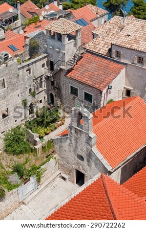 Town Korcula in island Korcula in Croatia with tower which is part of Marco Polo's home - stock photo