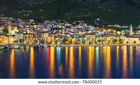 Town Makarska in Croatia at night - travel background - stock photo