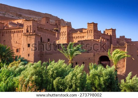 Town of Ait Benhaddou on a former Caravan Route beside the Ouarzazate River, Morocco - stock photo