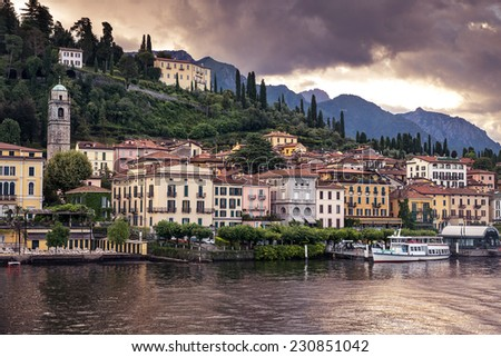 Town of Bellagio. Como Lake. Northern Italy. European travel, vacation, summer, destination, exploration and lifestyle concept. - stock photo