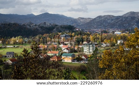 Town of Cetinje in Montenegro Surrounded by Mountains.Aerial View. Fall Landscape