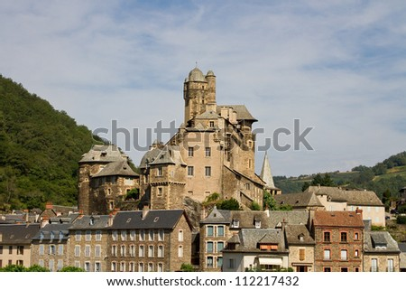 Town of Estaing in Aubrac, France - stock photo