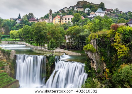 Town of Jajce and Pliva Waterfall, Bosnia and Herzegovina - stock photo