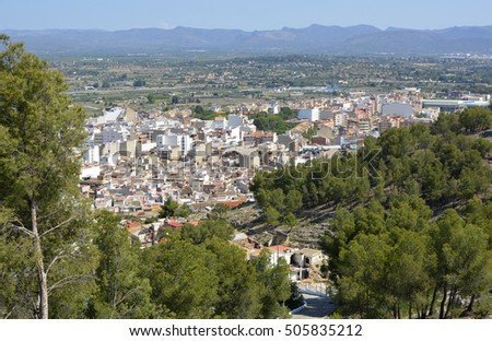 Town of Lliria and surrounding countryside near to Valencia, Spain. Viewed from Monastery of St Michael.