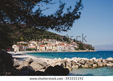 Town of Moscenicka Draga in Croatia - stock photo