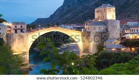 Town of Mostar in the evening, Bosnia and Herzegovina, Europe