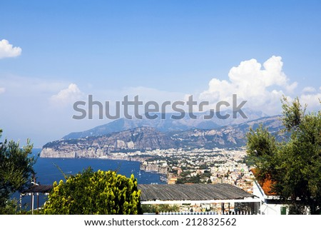 Town of Sorrento, Naples and the bay of Naples as seen from the mountain side of Sorrento. - stock photo