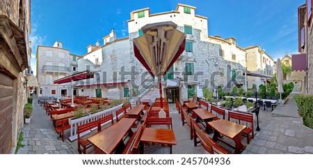 Town of Trogir old square panorama, Dalmatia, Croatia - stock photo