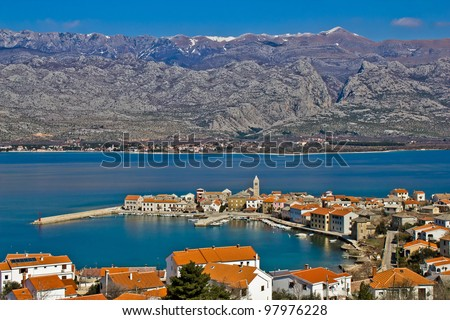 Town of Vinjerac and Velebit mountain with Paklenica national park, Croatia