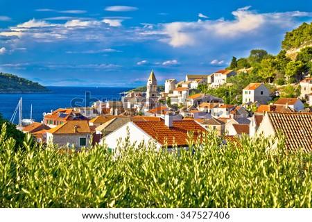 Town of Vis architecture and nature, Dalmatia, Croatia - stock photo