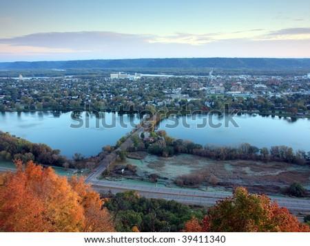 Town of Winona in Minnesota at fall season - stock photo