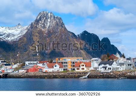 Town Svolvaer on Lofoten islands  - stock photo