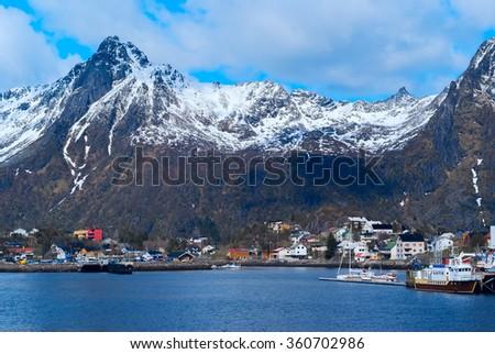 Town Svolvaer on Lofoten islands in Norway - stock photo