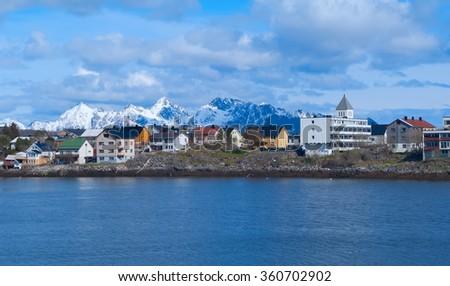 Town Svolvaer on Lofoten islands in sunny summer day - stock photo