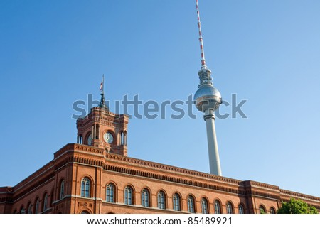 Townhall and the television tower in Berlin
