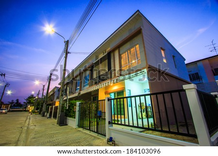 Townhome - Townhouse Twilight - stock photo