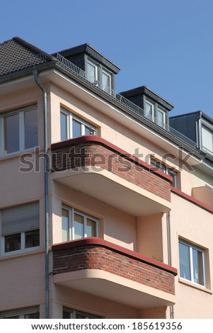 townhouse with balconies - stock photo