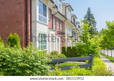 Townhouses in a residential neighbourhood in Canada. - stock photo