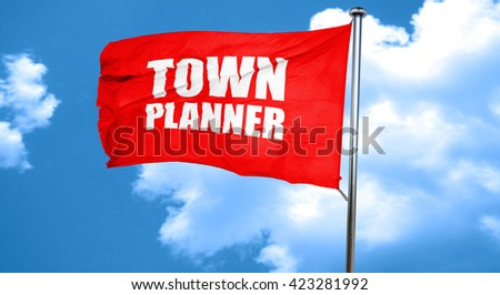 townplanner, 3D rendering, a red waving flag - stock photo