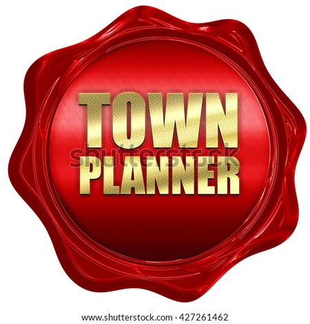 townplanner, 3D rendering, a red wax seal - stock photo