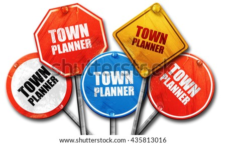townplanner, 3D rendering, rough street sign collection - stock photo