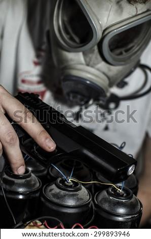 toxic gas bomb - stock photo