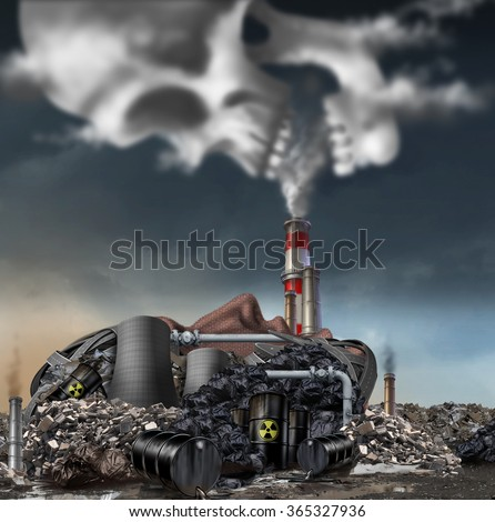 Toxic smoke symbol as a dirty industrial factory with garbage smoke stacks and a nuclear power plant shaped as a human face polluting the environment with toxins in the air shaped as a skull. - stock photo