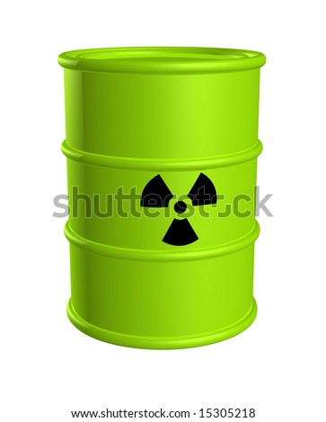 Toxic waste barrel bright green with radiation hazard symbol isolated on white. - stock photo