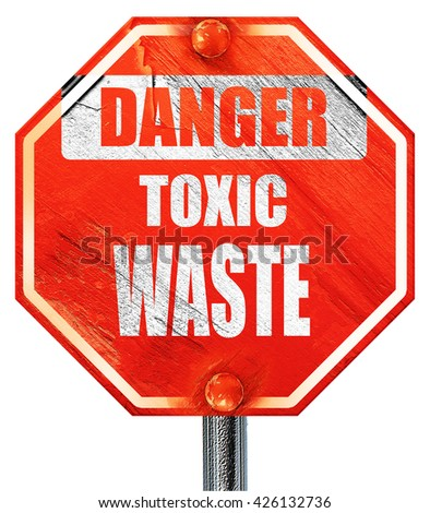 Toxic waste sign, 3D rendering, a red stop sign - stock photo