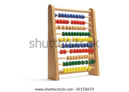 Toy Abacus on Isolated White Background