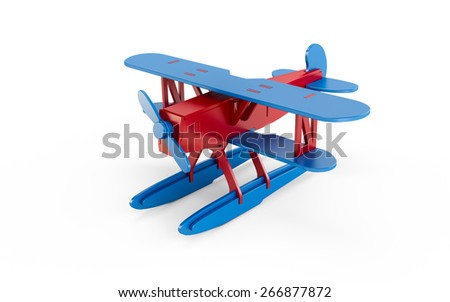Toy airplane isolated on white background - stock photo