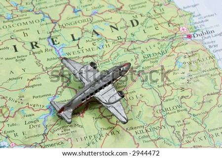 Toy Airplane on map of Ireland.  Shallow depth of field from use of macro lens