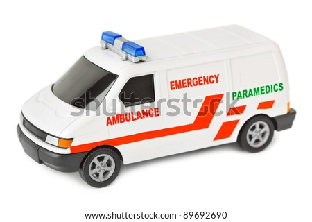 Toy ambulance car isolated on white background - stock photo