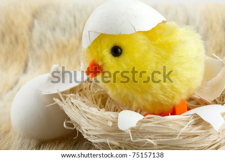 Toy baby chicken with eggshell in nest - stock photo