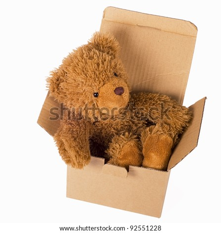toy bear cub sits in box on a white background - stock photo